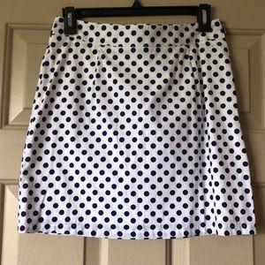 Criss Cross M White & Blue Polka Dot Skirt
